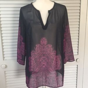 Ann Taylor Navy and Purple Sheer Tunic
